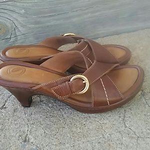 Nurture brown heeled sandal with gold buckle